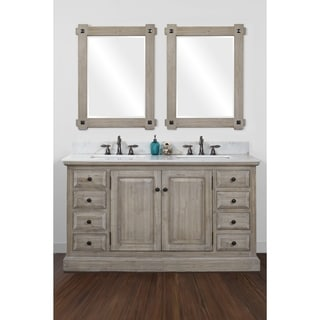 Infurniture 60-inch 2-sink Bathroom Vanity with White Quartz Top