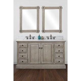Infurniture 60 Inch 2 Sink Bathroom Vanity With White Quartz Top