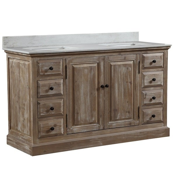 Shop Infurniture 60 Inch 2 Sink Bathroom Vanity With White Quartz Top Free Shipping Today