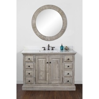 Infurniture Rustic-style 48-inch Single Sink Bathroom Vanity with White Quartz Marble Top