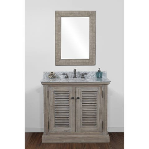 Infurniture Rustic-style Driftwood 36-inch Single Sink Bathroom Vanity with Carrera White Marble Top
