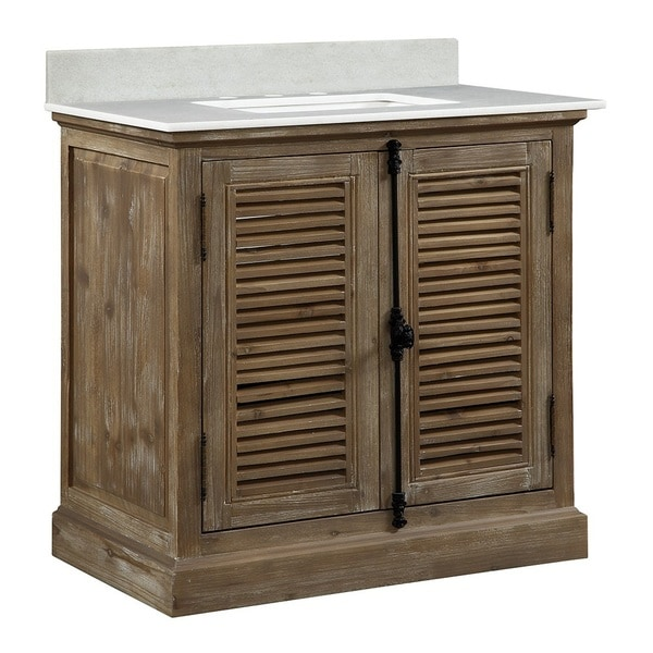 Shop infurniture 36 inch rustic style single sink bathroom vanity with white quartz top free for 36 inch rustic bathroom vanity