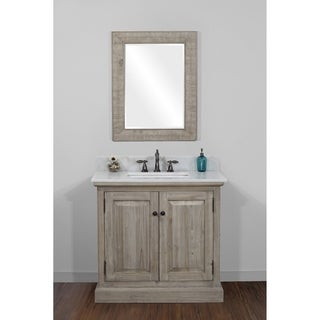 Infurniture Rustic-style 36-inch Single Sink Bathroom Vanity with White Quartz Top