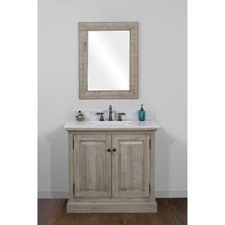 infurniture rustic style 36 inch single sink bathroom vanity with white quartz top - Rustic Bathroom Vanities 36 Inch