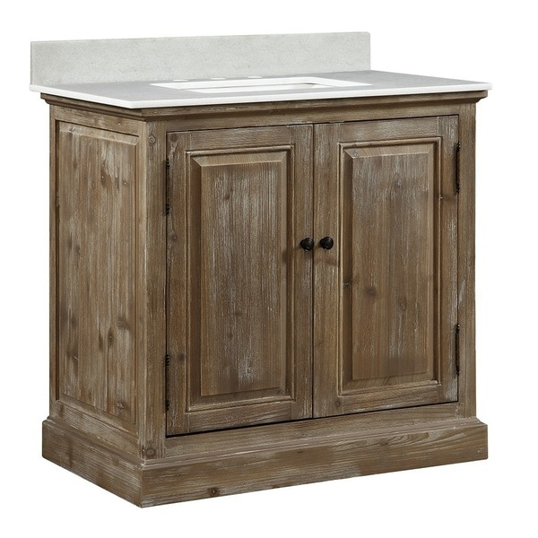 Shop infurniture rustic style 36 inch single sink bathroom vanity with white quartz top free for 36 inch rustic bathroom vanity