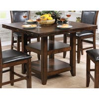 Furniture of America Grover Rustic Plank Style Brown Cherry Counter Height Table with Drop Leaf Lazy Susan - Cherry Brown