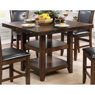 Furniture of America Grover Rustic Plank Style Brown Cherry Counter Height Table with Drop Leaf Lazy Susan