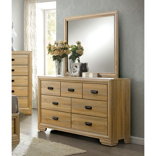 Furniture of America Lamer Contemporary 2-piece Natural 7-drawer Dresser and Mirror Set