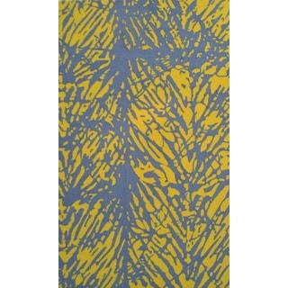 The Rug Market Batik Leaf Yellow/ Grey Hand-hooked Area Rug (5' x 8')