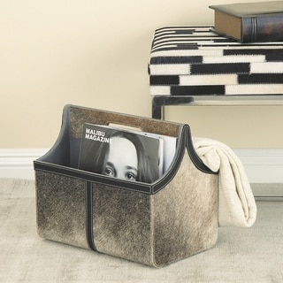 Urban Designs Derry Hair On Hide Leather Magazine Holder