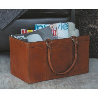 Urban Designs Leeds Genuine Leather Square Magazine Holder