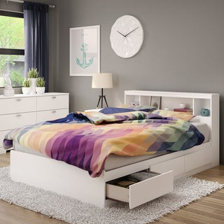 """South Shore Reevo Full Mates Bed With Bookcase Headboard (54""""), Pure White"""