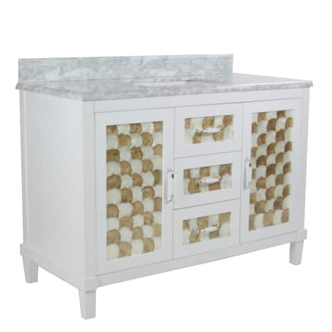 Infurniture White Wood 48-inch Single Square Sink Bathroom Vanity with Carrara White Natural Marble Top