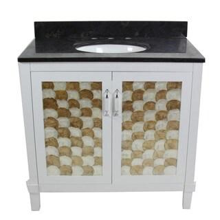Contemporary Black Limestone 36-inch Single Oval Sink Bathroom Vanity