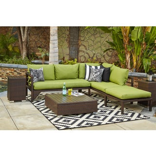Handy Living Aldrich Indoor/Outdoor Dark Brown Woven Resin Rattan Sectional Sofa with Cilantro Sunbrella Cushions