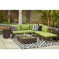 Havenside Home Stillwater Indoor/Outdoor Dark Brown Woven Resin Rattan Sectional Sofa with Cilantro