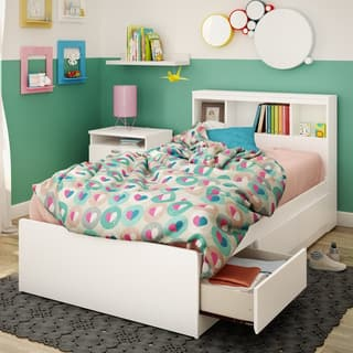 South Shore Reevo Mates Pure White 39-inch Twin Bed With Bookcase Headboard