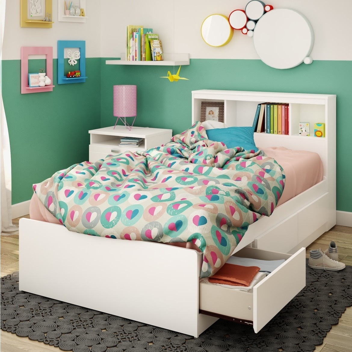 South Shore Reevo Mates Pure White 39 Inch Twin Bed With Bookcase Headboard