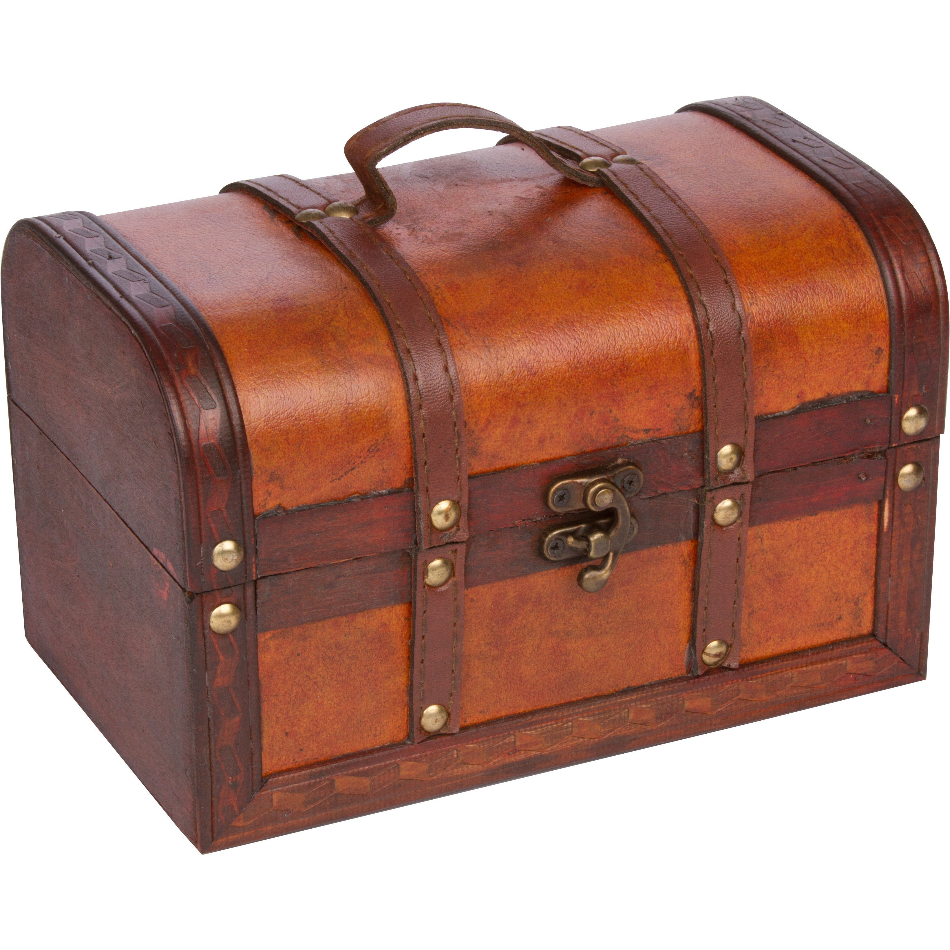 Picture of: Shop Trademark Innovations Small Wood Leather Decorative Chest Overstock 16373851