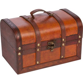 Trademark Innovations Small Wood/Leather Decorative Chest