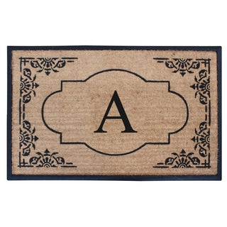 A1HC First Impression Hand Crafted 30 in. x 48 in. Heavy Rubber and Coir Double Doormat- Monogrammed