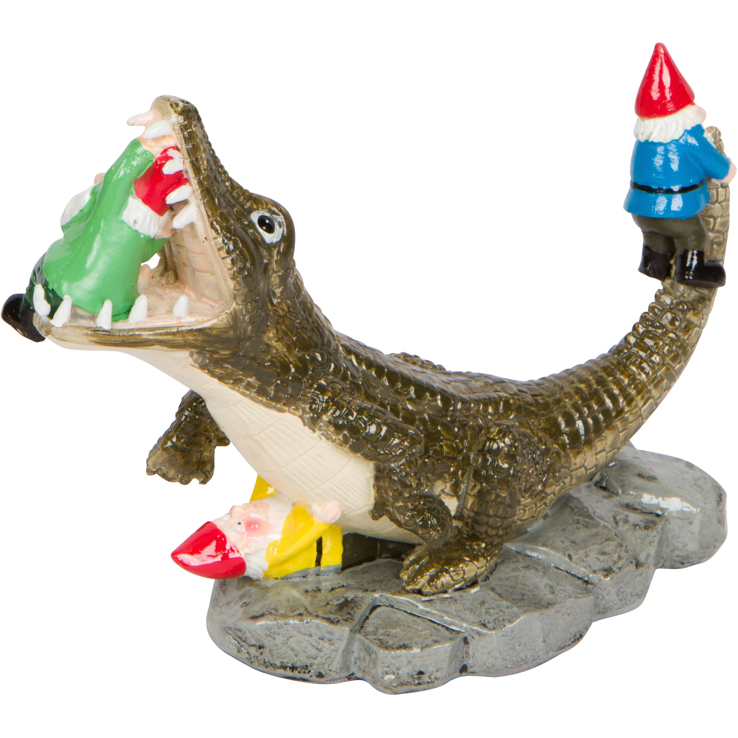 Hilarious Home 7-inch Alligator Garden Gnome Statue, Mult...