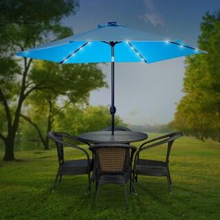 Sorbus Outdoor Umbrella, 10 ft Patio Umbrella with Tilt Adjustment and Crank Lift Handle (Solar LED - Aqua)