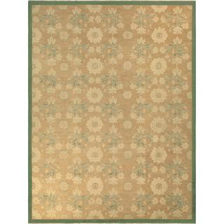 Arshs Fine Rugs Kafkaz Sun-faded Ginger Light Brown/Green Wool Hand-knotted Rug (10'4 x 13'9)