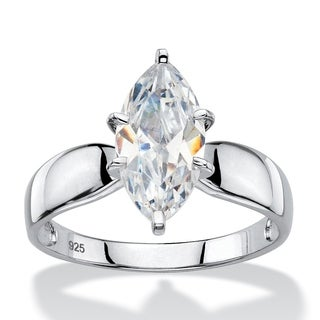 2.48 TCW Marquise-Cut Cubic Zirconia Platinum over Sterling Silver Solitaire Bridal Engagement Ring Classic CZ