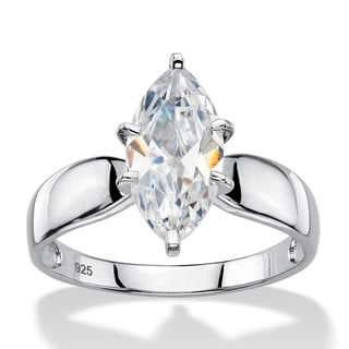 Link to Platinum over Sterling Silver Cubic Zirconia Solitaire Engagement Ring - White Similar Items in Rings