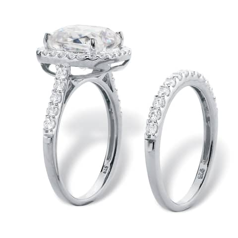 Platinum over Sterling Silver Cubic Zirconia Halo Bridal Ring Set - White