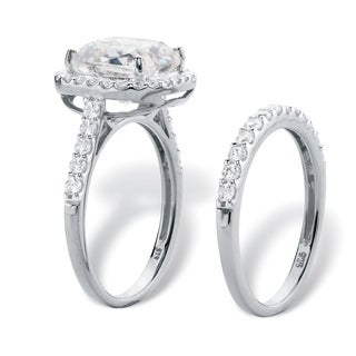 3.49 TCW Cushion-Cut White Cubic Zirconia 2-Piece Halo Bridal Wedding Ring Set in Platinum over Ster Classic CZ