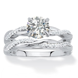Round Cubic Zirconia 2-Piece Twisted Wedding Ring Set in Sterling Silver 1.79 TCW Classic CZ