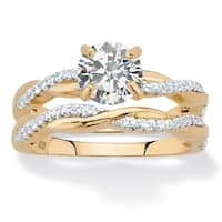 18K Yellow Gold over Sterling Silver Cubic Zirconia Bridal Ring Set - White
