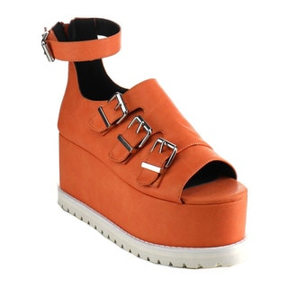 Ankle Strap Flatform Sandals Size 7 in Coral(As Is Item)