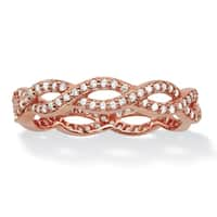 Round Cubic Zirconia Crossover Twist Ring in Rose Gold over Sterling Silver (.33 TCW) Classic CZ