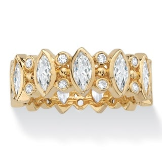 Marquise-Cut Cubic Zirconia Eternity Ring in 18k Yellow Gold with Round Accents 3.19 TCW Classic CZ
