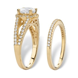Round Halo Cubic Zirconia 2-Piece Wedding Ring Set 2.16 TCW in 14k Gold over Sterling Silver Classic CZ