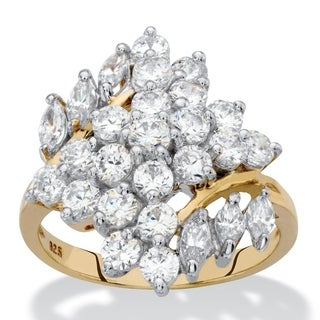 Round and Marquise-Cut Cubic Zirconia Cluster Ring 2.14 TCW in 18k Yellow Gold over Sterling Silver Classic CZ