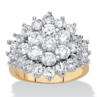 Round and Marquise-Cut Cubic Zirconia Cluster Ring 4.25 TCW 18k Yellow Gold-Plated Classic CZ