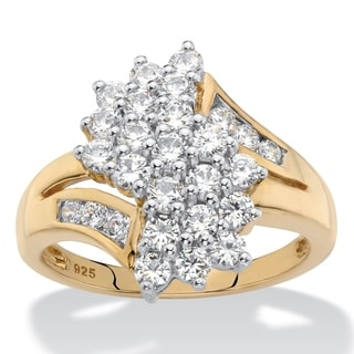 Round Cubic Zirconia Bypass Cluster Ring 1.25 TCW in 18k Yellow Gold over Sterling Silver Classic CZ