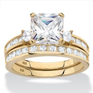 Yellow Gold Over Sterling Silver Cubic Zirconia Bridal Ring Set White