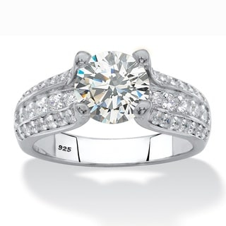 Round Cubic Zirconia Multi-Row Engagement Ring 2.69 TCW in Sterling Silver Classic CZ