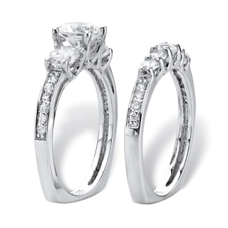 Round Graduated Cubic Zirconia 2-Piece Wedding Ring Set 2.09 TCW in Sterling Silver Classic CZ