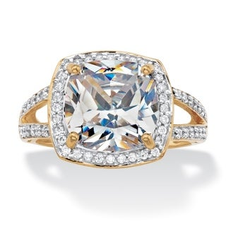 Cushion-Cut Cubic Zirconia Halo Engagement Ring 2.93 TCW in Solid 10k Yellow Gold Classic CZ