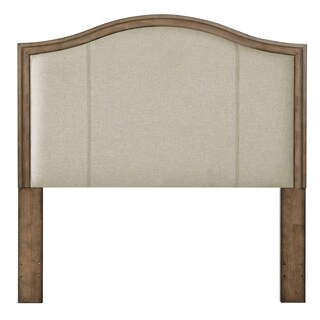 Camel Back Upholstered Cappuccino Wood Headboard