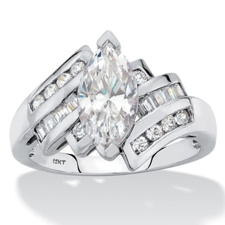 Marquise-Cut Cubic Zirconia Bypass Ring 2.57 TCW in Solid 10k White Gold with Channel-Set Baguettes Classic CZ