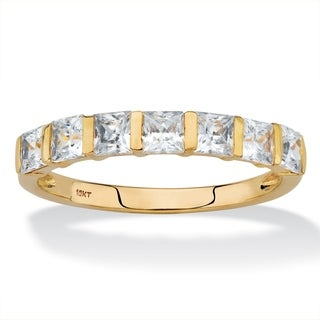 Princess-Cut Cubic Zirconia Channel-Set Row Ring 1.12 TCW in Solid 10k Yellow Gold Classic CZ