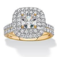 10K Yellow Gold Cubic Zirconia Bridal Ring Set - White