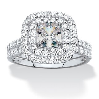 Cushion-Cut Cubic Zirconia Double Halo 2-Piece Wedding Ring Set 1.97 TCW in Solid 10k White Gold Classic CZ